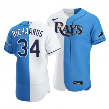 Rays #34 Trevor Richards Split White Blue Two-Tone Jersey