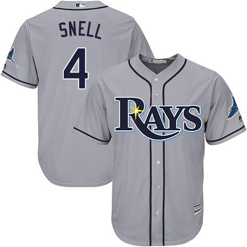 Rays #4 Blake Snell Grey Cool Base Stitched Youth Baseball Jersey