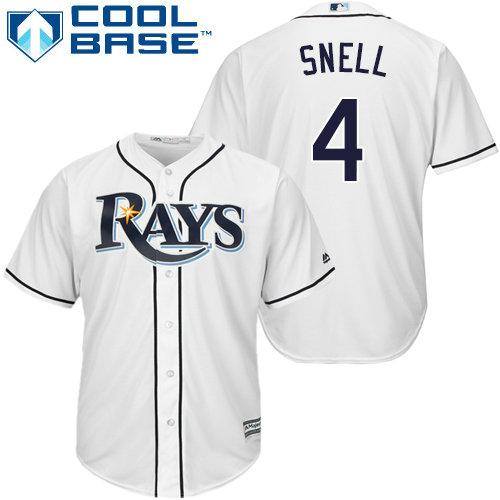 Rays #4 Blake Snell White Cool Base Stitched Youth Baseball Jersey