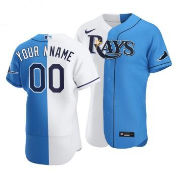 Rays Custom Split White Blue Two-Tone Jersey
