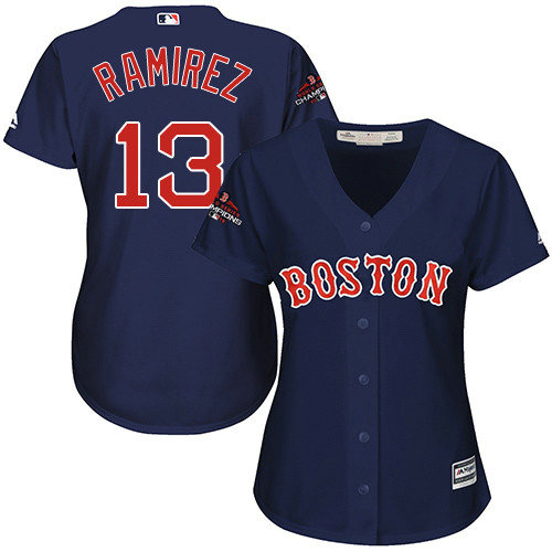 Red Sox #13 Hanley Ramirez Navy Blue Alternate 2018 World Series Champions Women's Stitched MLB Jersey