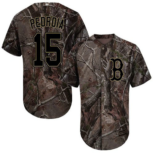 Red Sox #15 Dustin Pedroia Camo Realtree Collection Cool Base Stitched Youth Baseball Jersey