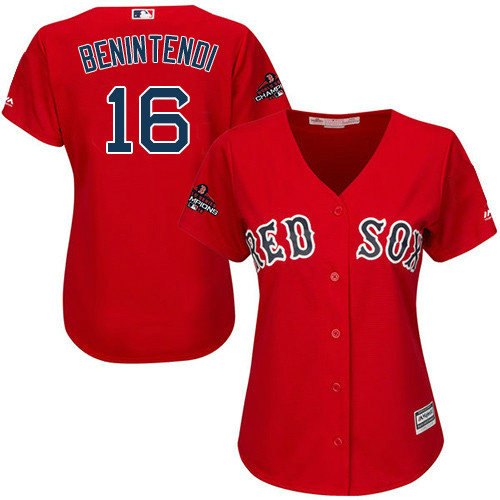 Red Sox #16 Andrew Benintendi Red Alternate 2018 World Series Champions Women's Stitched MLB Jersey