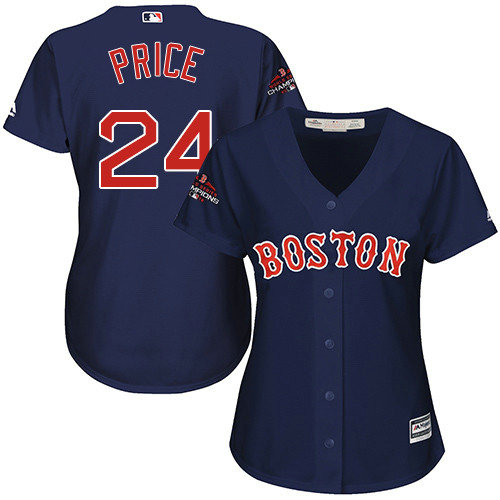 Red Sox #24 David Price Navy Blue Alternate 2018 World Series Champions Women's Stitched MLB Jersey