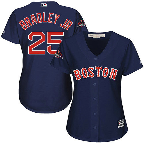 Red Sox #25 Jackie Bradley Jr Navy Blue Alternate 2018 World Series Champions Women's Stitched MLB Jersey