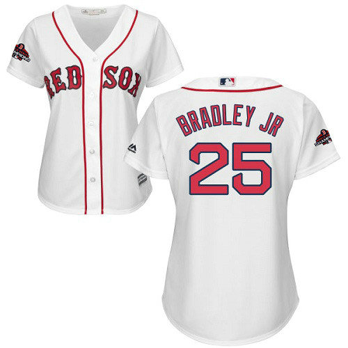 Red Sox #25 Jackie Bradley Jr White Home 2018 World Series Champions Women's Stitched MLB Jersey