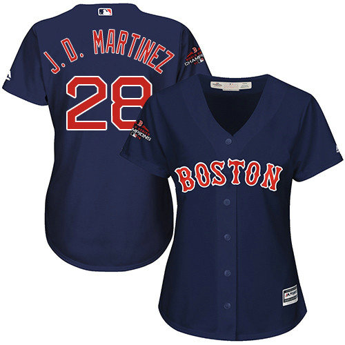 Red Sox #28 J. D. Martinez Navy Blue Alternate 2018 World Series Champions Women's Stitched MLB Jersey