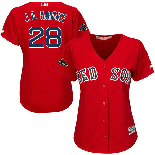 Red Sox #28 J. D. Martinez Red Alternate 2018 World Series Champions Women's Stitched MLB Jersey