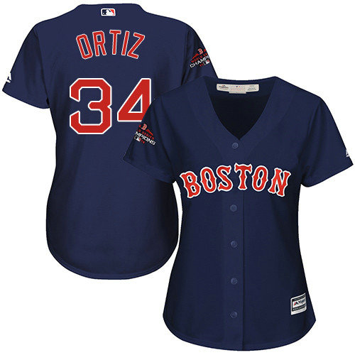 Red Sox #34 David Ortiz Navy Blue Alternate 2018 World Series Champions Women's Stitched MLB Jersey