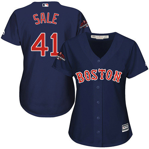 Red Sox #41 Chris Sale Navy Blue Alternate 2018 World Series Champions Women's Stitched MLB Jersey