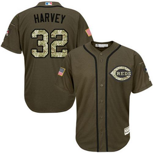 Reds #32 Matt Harvey Green Salute to Service Stitched Youth Baseball Jersey