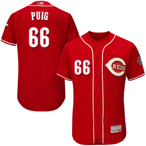 Reds #66 Yasiel Puig Red Flexbase Authentic Collection Stitched Baseball Jersey