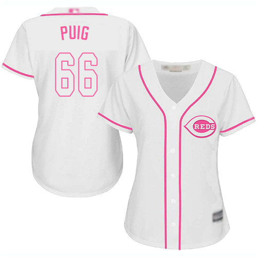 Reds #66 Yasiel Puig White Pink Fashion Women's Stitched Baseball Jersey