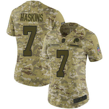 Redskins #7 Dwayne Haskins Camo Women's Stitched Football Limited 2018 Salute to Service Jersey