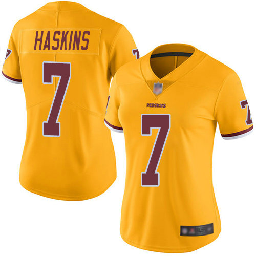 Redskins #7 Dwayne Haskins Gold Women's Stitched Football Limited Rush Jersey
