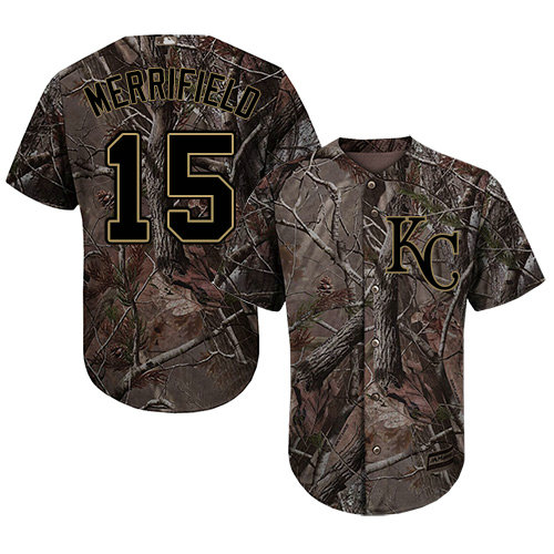 Royals #15 Whit Merrifield Camo Realtree Collection Cool Base Stitched Youth Baseball Jersey