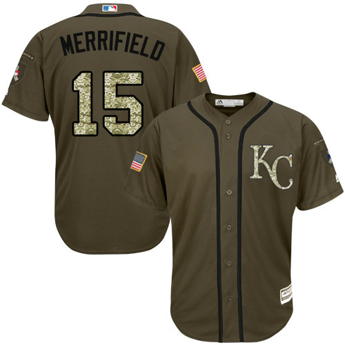 Royals #15 Whit Merrifield Green Salute to Service Stitched Youth Baseball Jersey