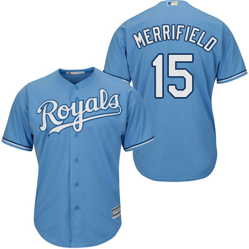 Royals #15 Whit Merrifield Light Blue Cool Base Stitched Youth Baseball Jersey