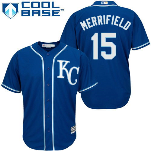 Royals #15 Whit Merrifield Royal Blue Cool Base Stitched Youth Baseball Jersey