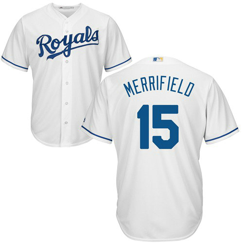 Royals #15 Whit Merrifield White Cool Base Stitched Youth Baseball Jersey