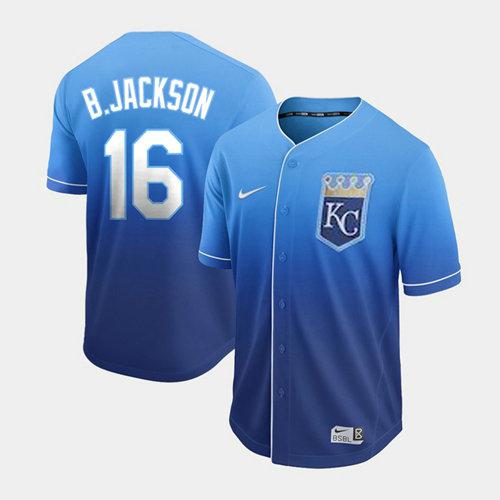 Royals #16 Bo Jackson Royal Fade Authentic Stitched Baseball Jersey