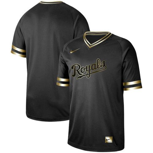 Royals Blank Black Gold Nike Cooperstown Collection Legend V Neck Jersey