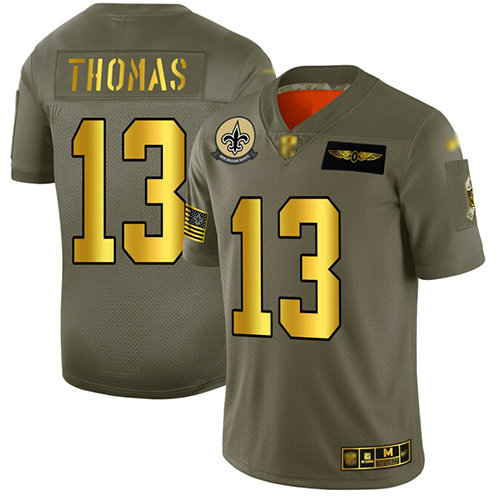 Saints #13 Michael Thomas Camo Gold Men's Stitched Football Limited 2019 Salute To Service Jersey
