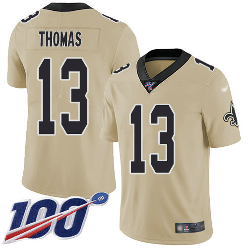 Saints #13 Michael Thomas Gold Youth Stitched Football Limited Inverted Legend 100th Season Jersey