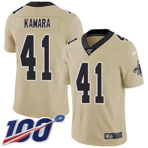Saints #41 Alvin Kamara Gold Youth Stitched Football Limited Inverted Legend 100th Season Jersey