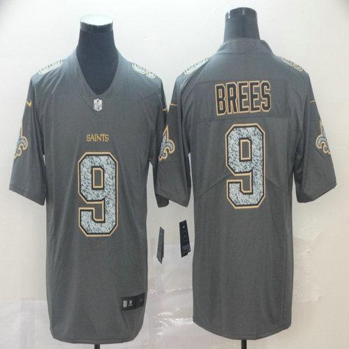 Saints 9 Drew Brees Gray Camo Vapor Untouchable Limited Jersey