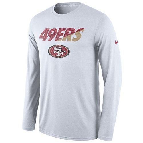 San Francisco 49ers Nike White Legend Staff Practice Long Sleeves Performance T-Shirt