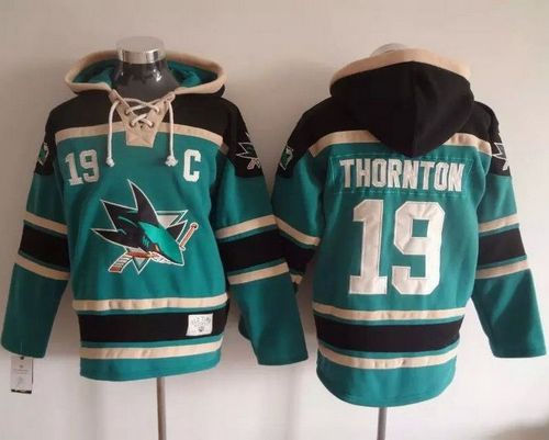 San Jose Sharks 19 Joe Thornton Teal Sawyer Hooded Sweatshirt NHL Jersey