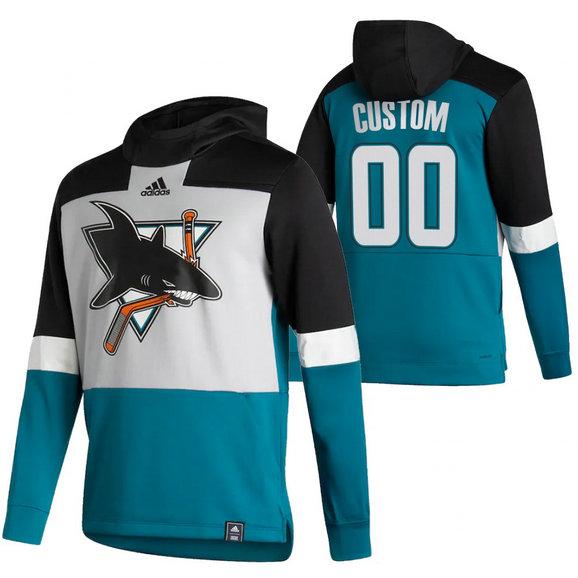 San Jose Sharks Custom Adidas Reverse Retro Pullover Hoodie Gray Teal