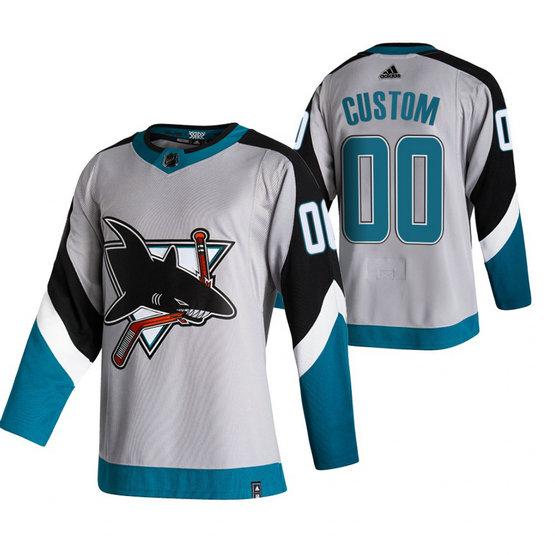 San Jose Sharks Custom Grey Men's Adidas 2020-21 Reverse Retro Alternate NHL Jersey