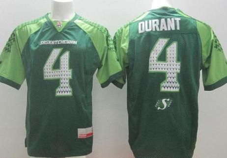 Saskatchewan Roughriders 4 Darian Durant Green Stitched CFL Jersey