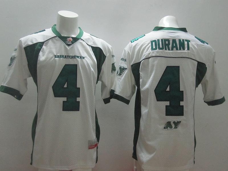 Saskatchewan Roughriders 4 Darian Durant White Stitched CFL Jersey