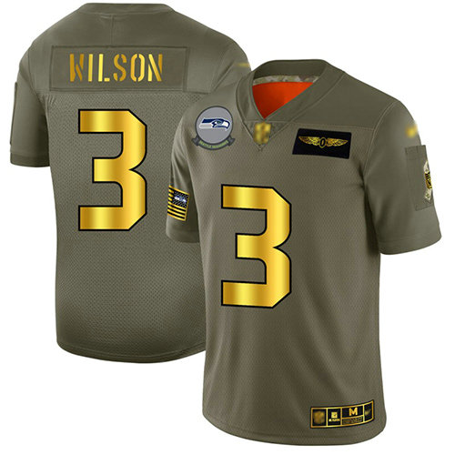 Seahawks #3 Russell Wilson Camo Gold Men's Stitched Football Limited 2019 Salute To Service Jersey