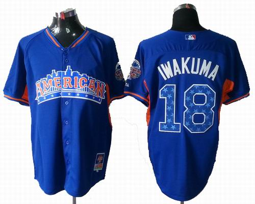 Seattle Mariners #18 Hisash American League 2013 All Star blue Jerseyi Iwakuma