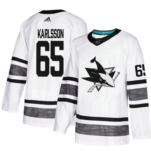 Sharks #65 Erik Karlsson White Authentic 2019 All-Star Stitched Hockey Jersey