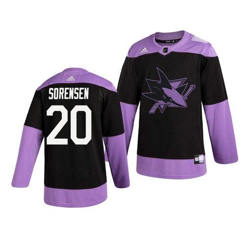 Sharks 20 Marcus Sorensen Black Purple Hockey Fights Cancer Adidas Jersey