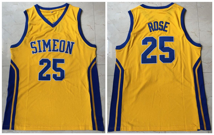 Simeon 25 Derrick Rose Yellow High School Mesh Basketball Jersey