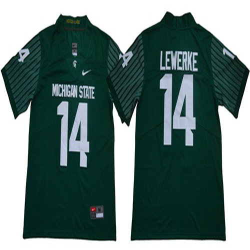 Spartans #14 Brian Lewerke Green Limited Stitched NCAA Jersey