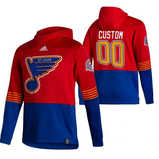 St. Louis Blues Custom Adidas Reverse Retro Pullover Hoodie Red