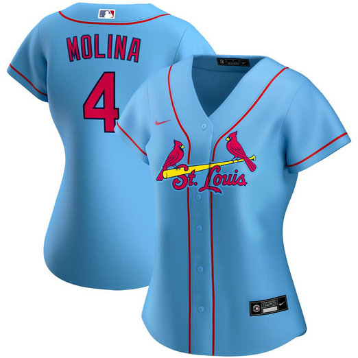 St. Louis Cardinals #4 Yadier Molina Nike Women's Alternate 2020 MLB Player Jersey Light Blue