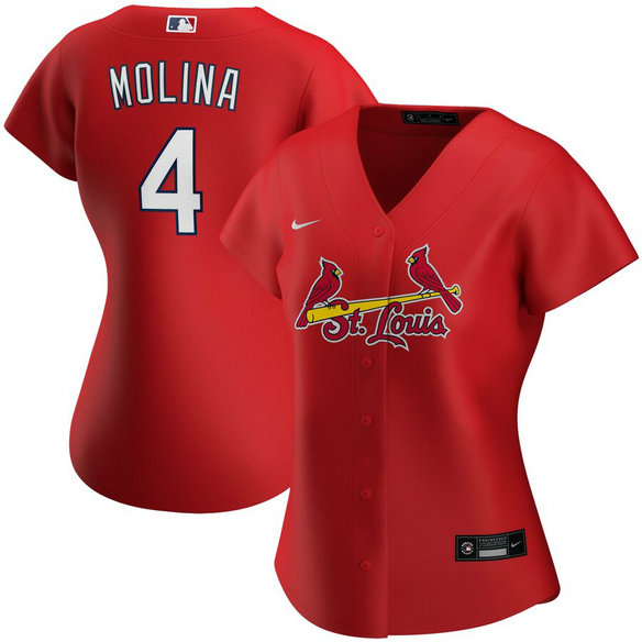 St. Louis Cardinals #4 Yadier Molina Nike Women's Alternate 2020 MLB Player Jersey Red