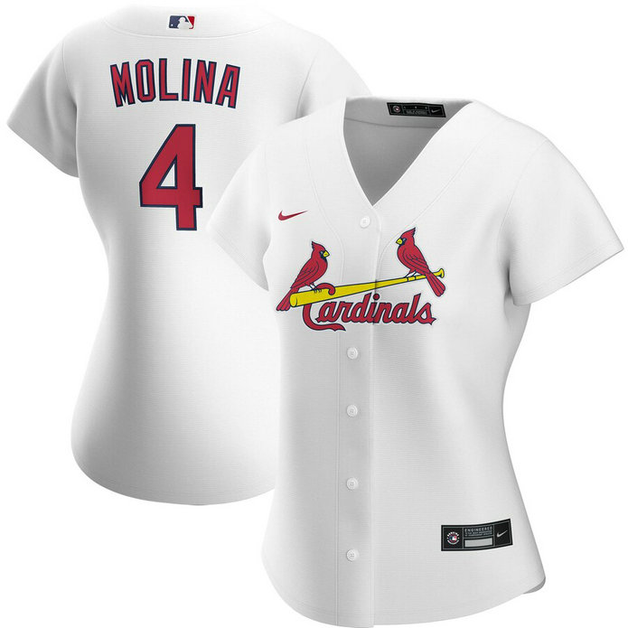 St. Louis Cardinals #4 Yadier Molina Nike Women's Home 2020 MLB Player Jersey White