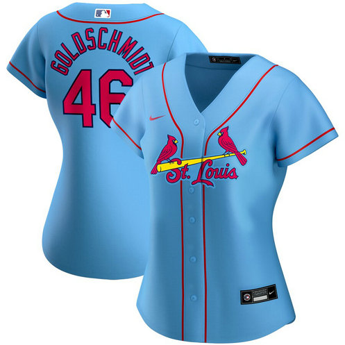 St. Louis Cardinals #46 Paul Goldschmidt Nike Women's Alternate 2020 MLB Player Jersey Light Blue