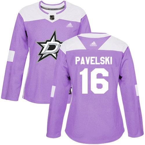Stars #16 Joe Pavelski Purple Authentic Fights Cancer Women's Stitched Hockey Jersey