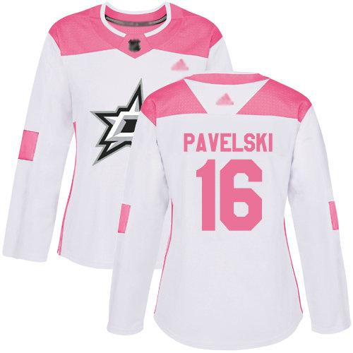 Stars #16 Joe Pavelski White Pink Authentic Fashion Women's Stitched Hockey Jersey