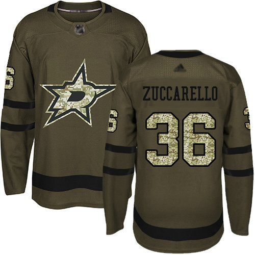 Stars #36 Mats Zuccarello Green Salute to Service Youth Stitched Hockey Jersey